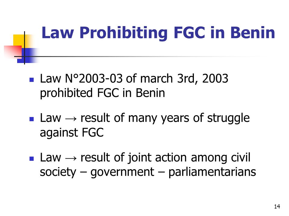 14 Law Prohibiting FGC in Benin Law N° of march 3rd, 2003 prohibited FGC in Benin Law result of many years of struggle against FGC Law result of joint action among civil society – government – parliamentarians