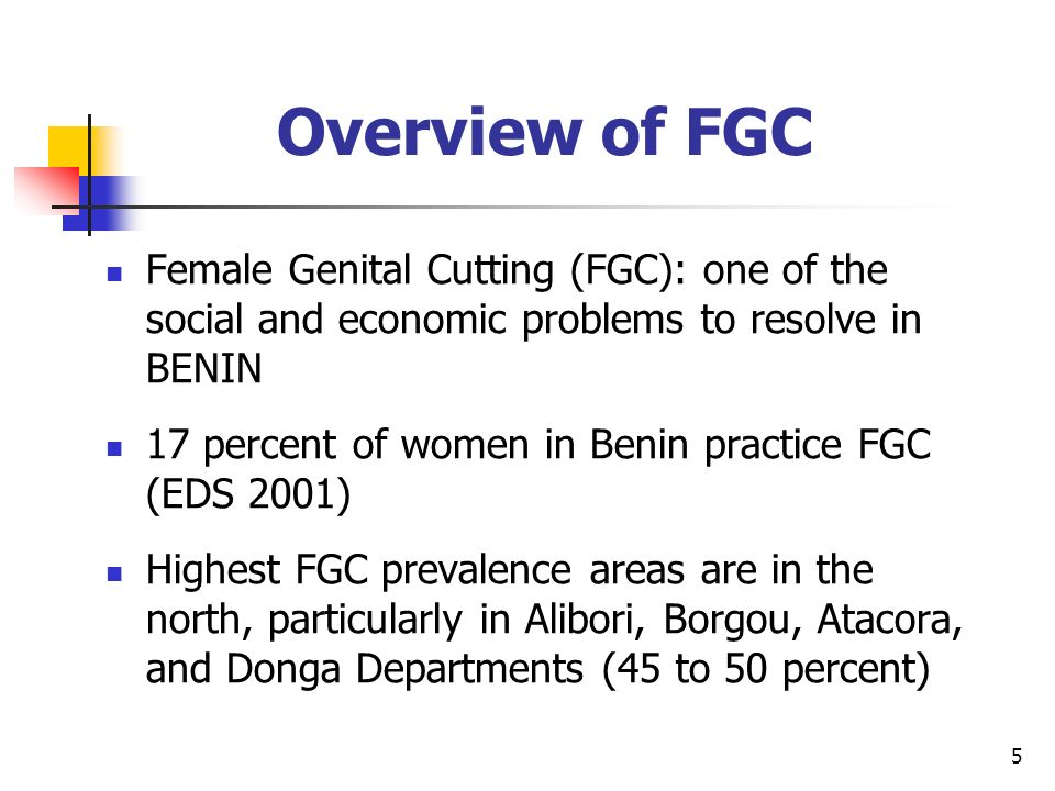5 Overview of FGC Female Genital Cutting (FGC): one of the social and economic problems to resolve in BENIN 17 percent of women in Benin practice FGC (EDS 2001) Highest FGC prevalence areas are in the north, particularly in Alibori, Borgou, Atacora, and Donga Departments (45 to 50 percent)
