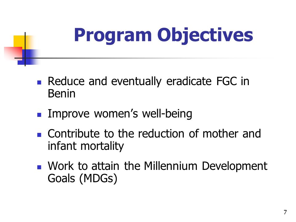 7 Program Objectives Reduce and eventually eradicate FGC in Benin Improve womens well-being Contribute to the reduction of mother and infant mortality Work to attain the Millennium Development Goals (MDGs)