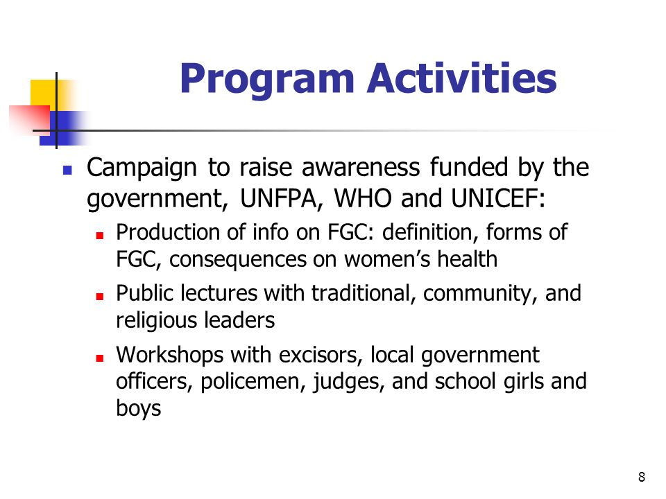 8 Program Activities Campaign to raise awareness funded by the government, UNFPA, WHO and UNICEF: Production of info on FGC: definition, forms of FGC, consequences on womens health Public lectures with traditional, community, and religious leaders Workshops with excisors, local government officers, policemen, judges, and school girls and boys