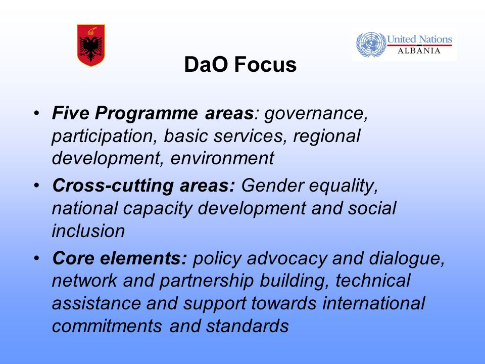 DaO Focus Five Programme areas: governance, participation, basic services, regional development, environment Cross-cutting areas: Gender equality, national capacity development and social inclusion Core elements: policy advocacy and dialogue, network and partnership building, technical assistance and support towards international commitments and standards