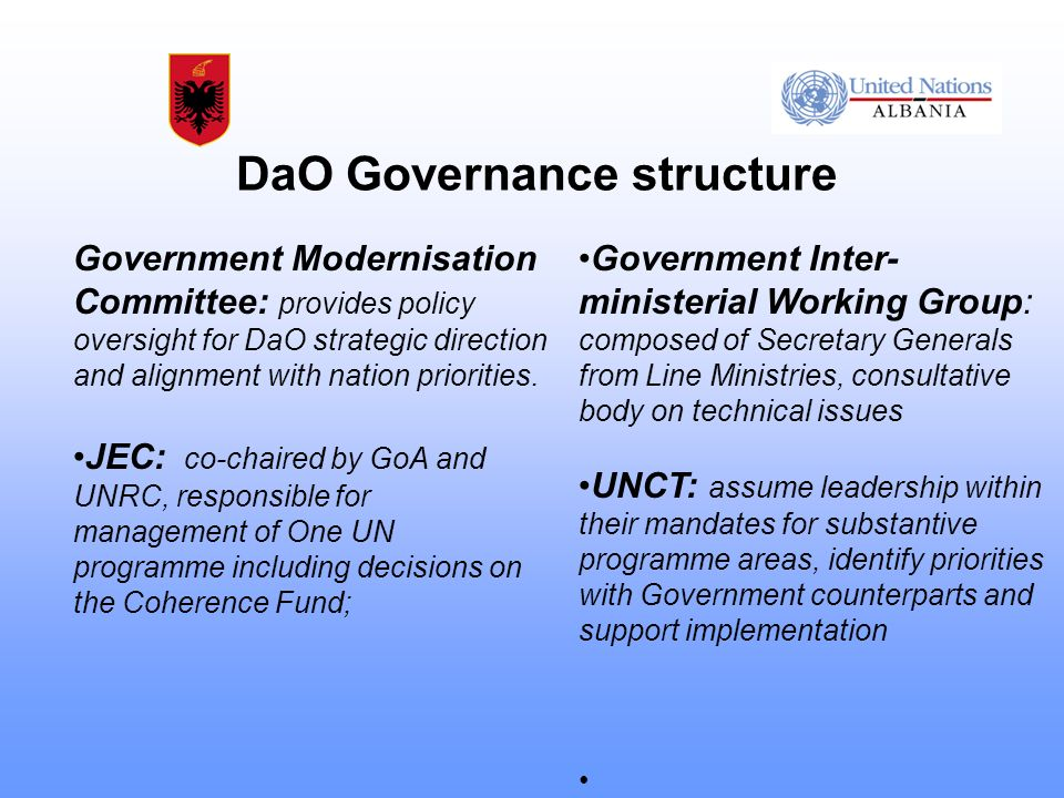 DaO Governance structure Government Modernisation Committee: provides policy oversight for DaO strategic direction and alignment with nation priorities.