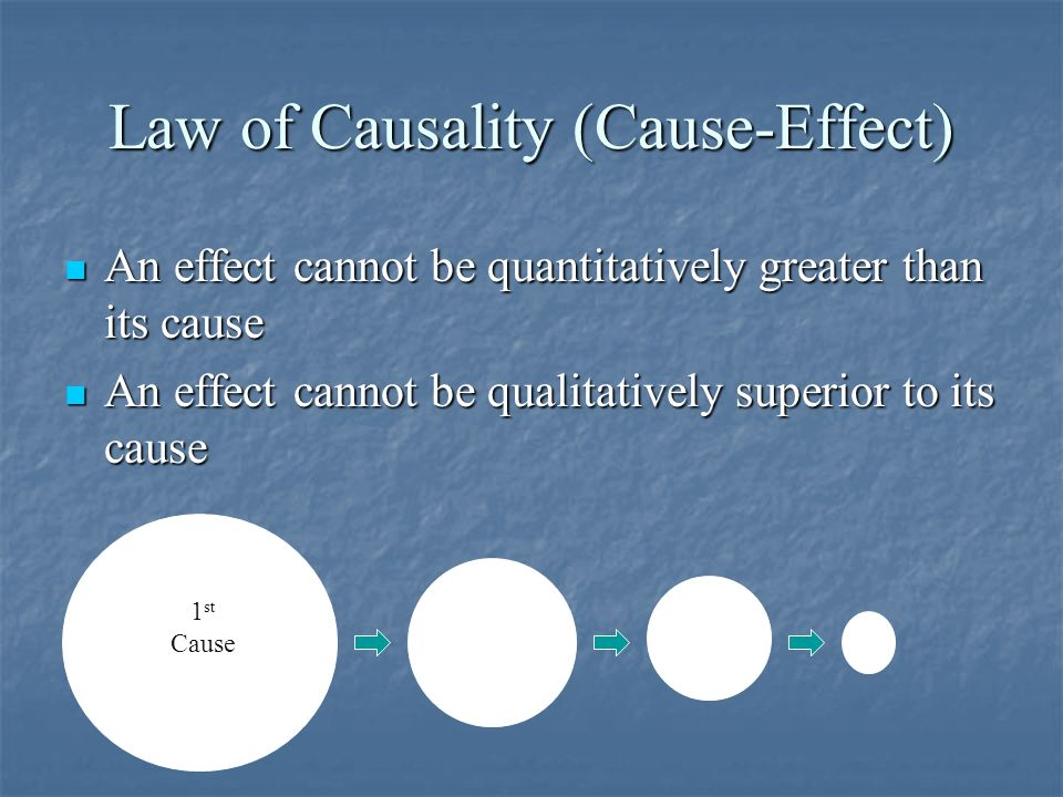 Law of Causality (Cause-Effect) An effect cannot be quantitatively greater than its cause An effect cannot be quantitatively greater than its cause An effect cannot be qualitatively superior to its cause An effect cannot be qualitatively superior to its cause 1 st ca 1 st Cause