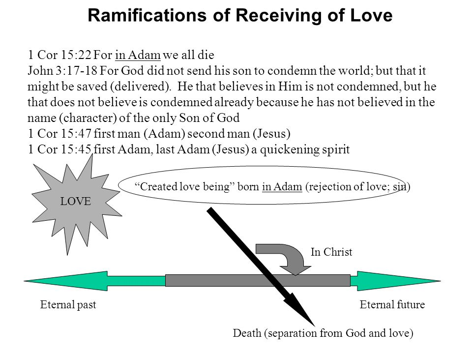 LOVE Eternal past Created love being born in Adam (rejection of love; sin) Eternal future Ramifications of Receiving of Love Death (separation from Go