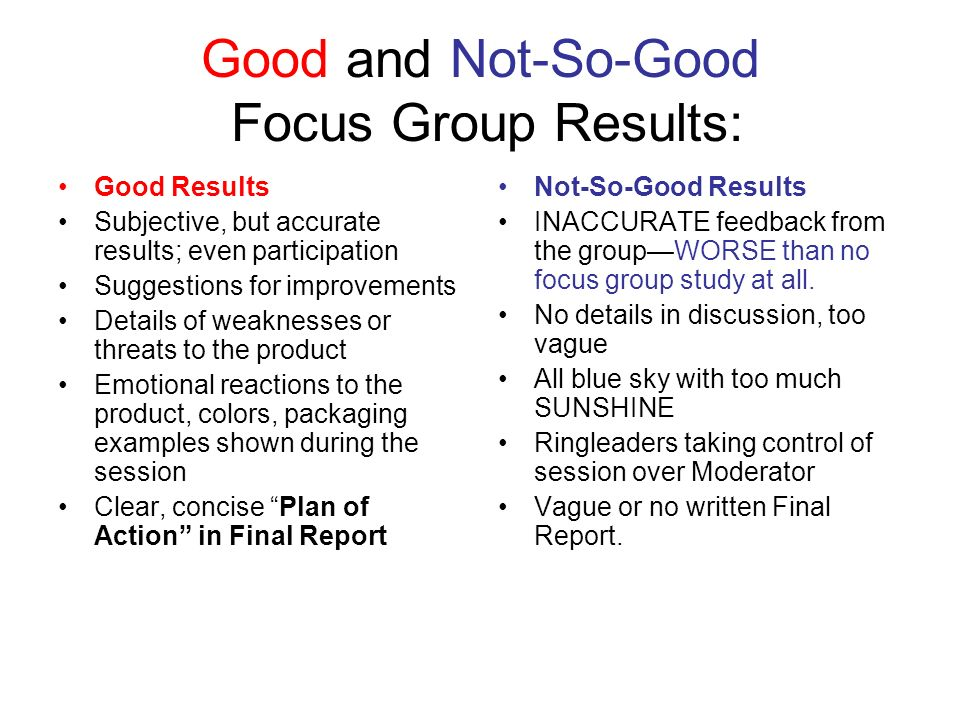 Good and Not-So-Good Focus Group Results: Good Results Subjective, but accurate results; even participation Suggestions for improvements Details of weaknesses or threats to the product Emotional reactions to the product, colors, packaging examples shown during the session Clear, concise Plan of Action in Final Report Not-So-Good Results INACCURATE feedback from the groupWORSE than no focus group study at all.