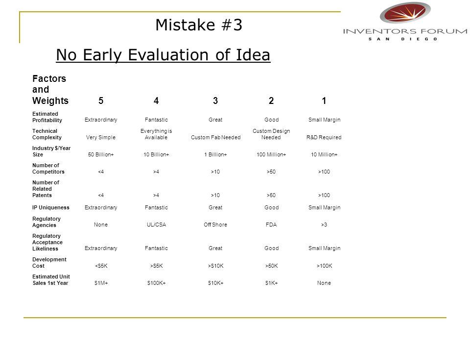 Mistake #3 No Early Evaluation of Idea Factors and Weights54321 Estimated ProfitabilityExtraordinaryFantasticGreatGoodSmall Margin Technical Complexit
