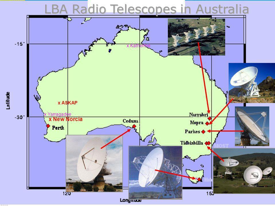 LBA Radio Telescopes in Australia x Katherine x New Norcia x Yarragadee x ASKAP x