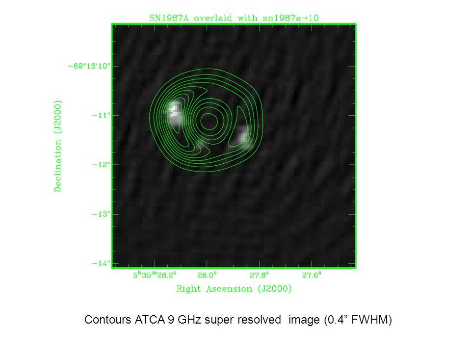 Contours ATCA 9 GHz super resolved image (0.4 FWHM)