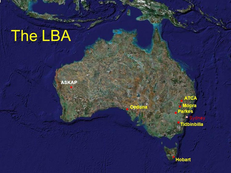ATCA Mopra Parkes Hobart Ceduna Tidbinbilla Sydney ASKAP The LBA