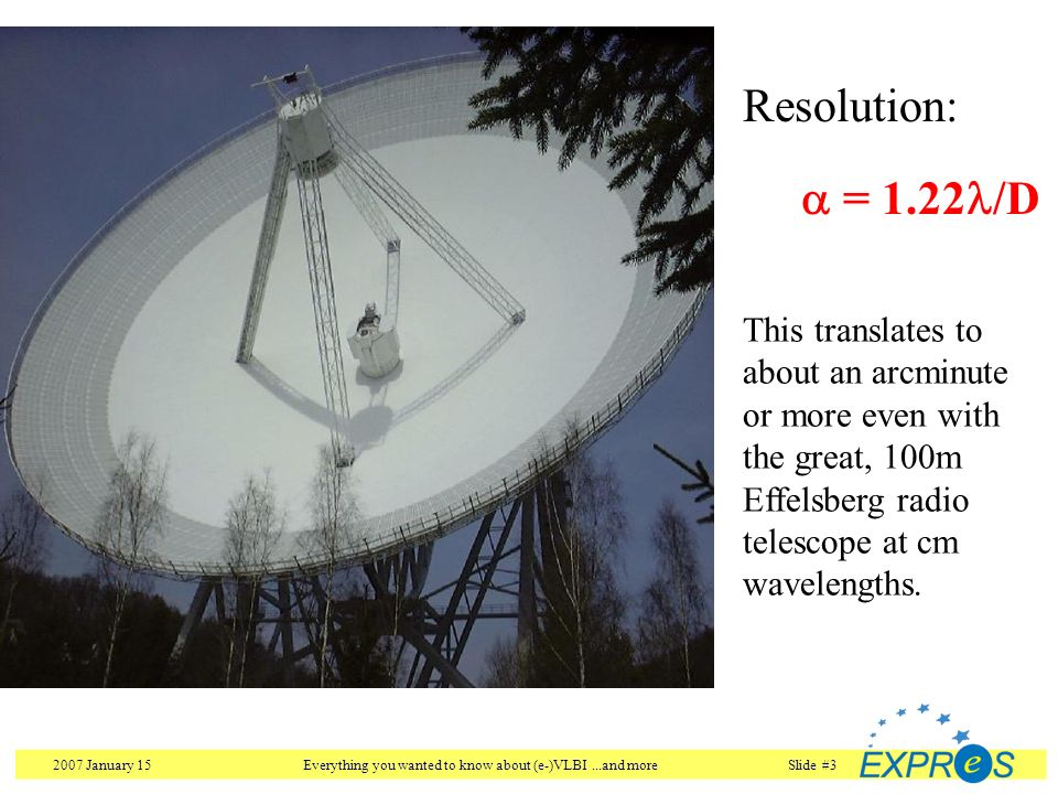 2007 January 15Everything you wanted to know about (e-)VLBI...and moreSlide #3 Resolution: = 1.22 /D This translates to about an arcminute or more eve