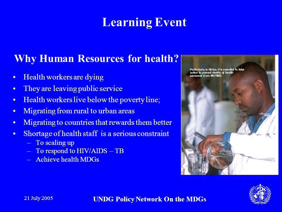 21 July 2005 UNDG Policy Network On the MDGs Learning Event Why Human Resources for health.