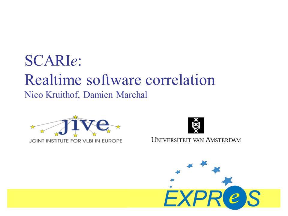 SCARIe: Realtime software correlation Nico Kruithof, Damien Marchal