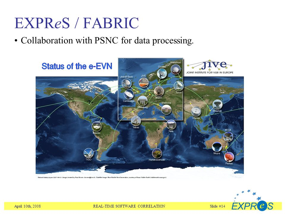 April 10th, 2008REAL-TIME SOFTWARE CORRELATIONSlide #14 EXPReS / FABRIC Collaboration with PSNC for data processing.