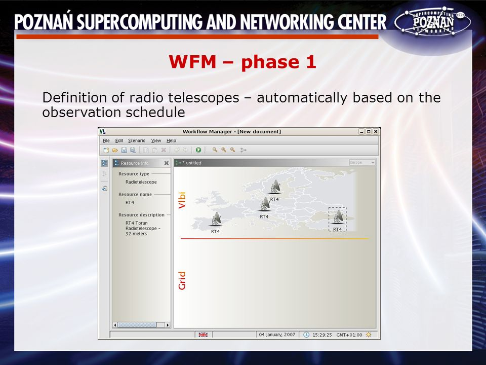 WFM – phase 1 Definition of radio telescopes – automatically based on the observation schedule
