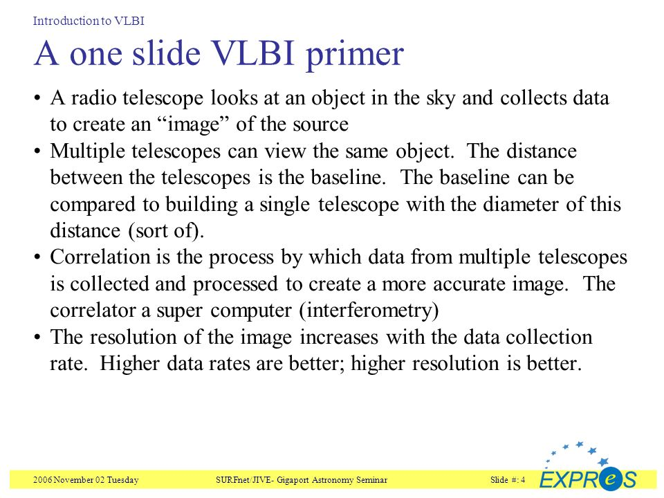 2006 November 02 TuesdaySURFnet/JIVE- Gigaport Astronomy SeminarSlide #: 4 A one slide VLBI primer A radio telescope looks at an object in the sky and collects data to create an image of the source Multiple telescopes can view the same object.