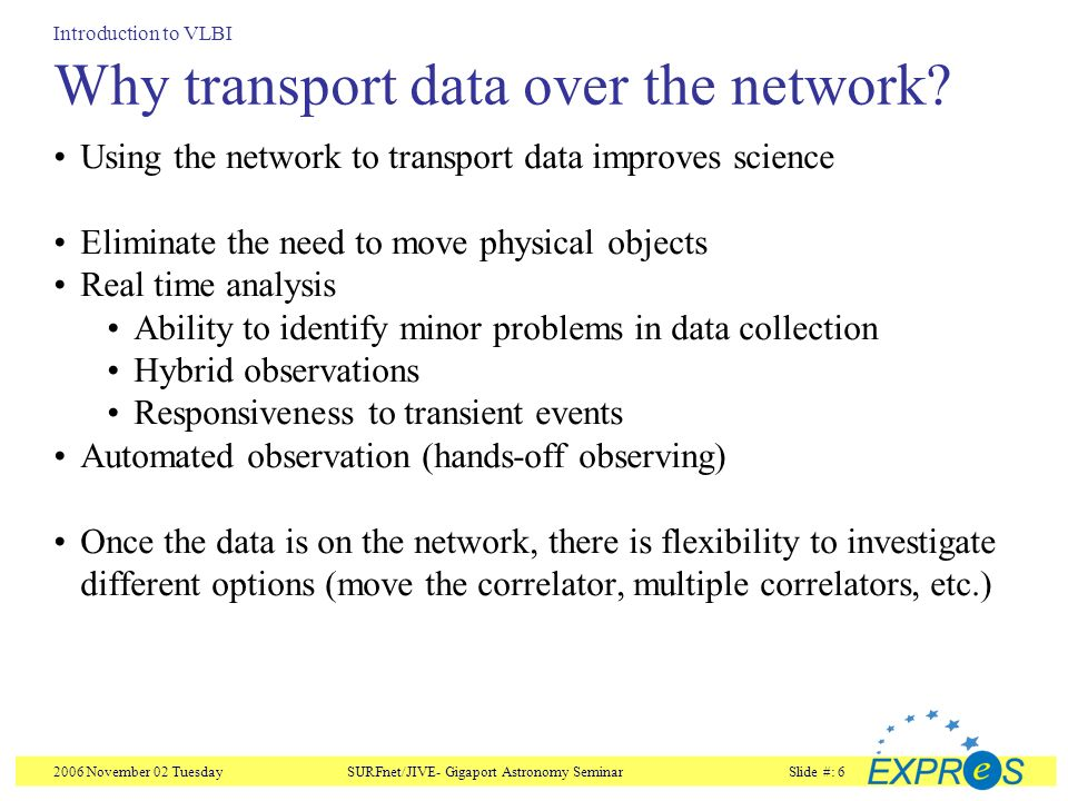2006 November 02 TuesdaySURFnet/JIVE- Gigaport Astronomy SeminarSlide #: 6 Why transport data over the network.