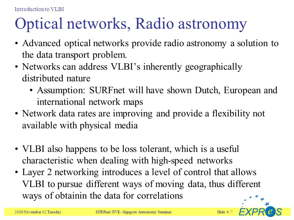 2006 November 02 TuesdaySURFnet/JIVE- Gigaport Astronomy SeminarSlide #: 7 Optical networks, Radio astronomy Advanced optical networks provide radio astronomy a solution to the data transport problem.