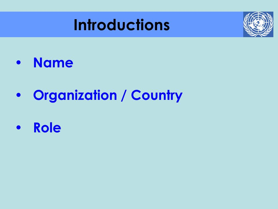 Name Organization / Country Role Introductions