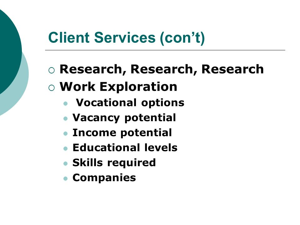Client Services (cont) Research, Research, Research Work Exploration Vocational options Vacancy potential Income potential Educational levels Skills r