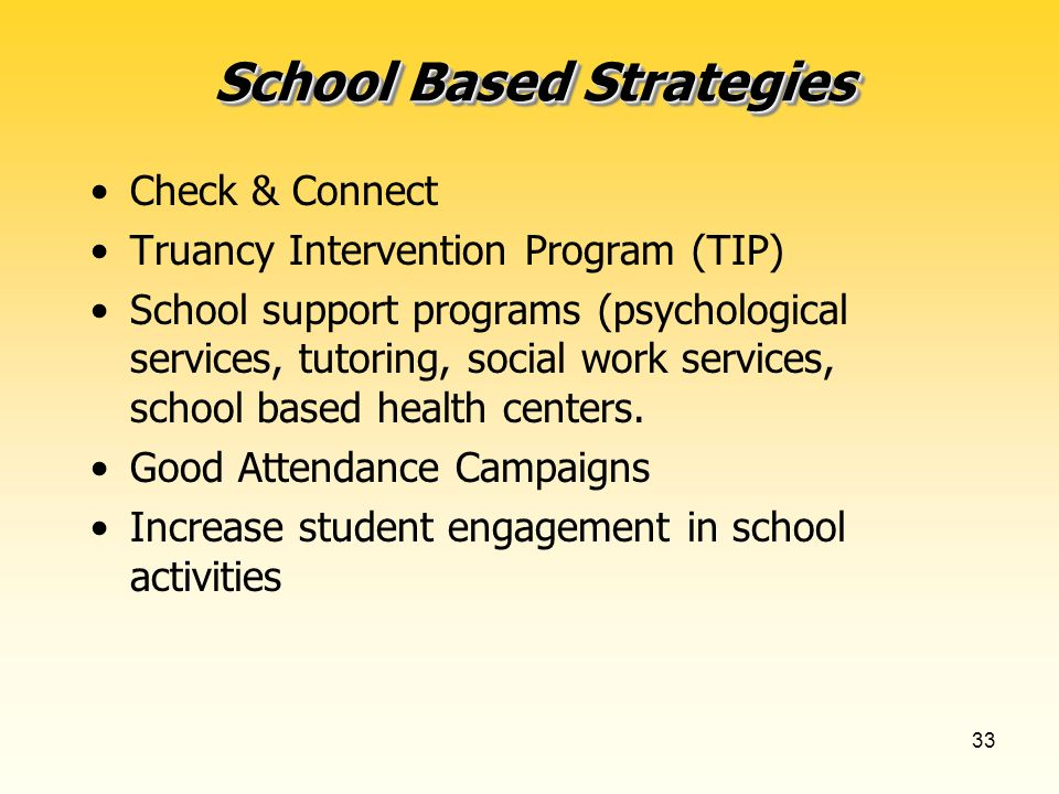 32 School Based Strategies School climate programs (school involvement, anti-bullying, tolerance, activities) Attendance specialists or coaches in bui