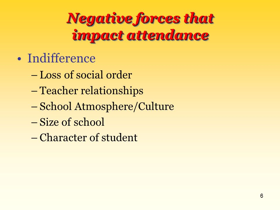5 Negative forces that impact attendance Family History –Generational Illiteracy –Negative Attitude –Transient –Outlaws –Family Situation