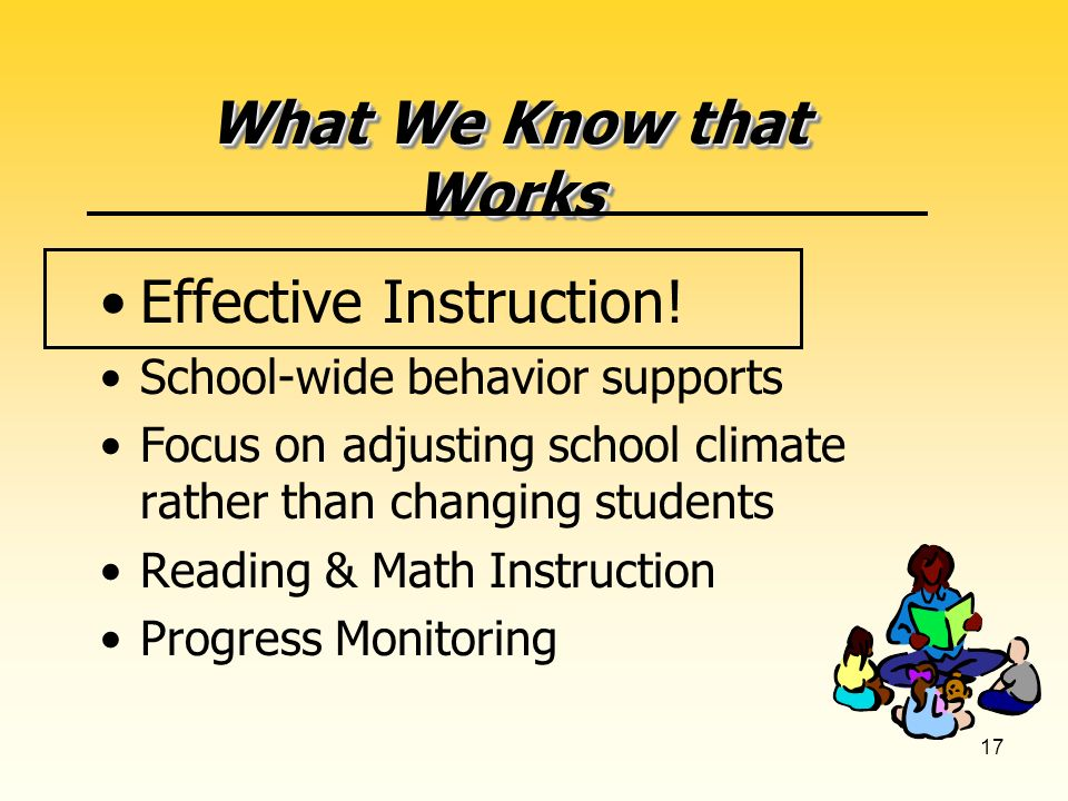 17 What We Know that Works Effective Instruction.