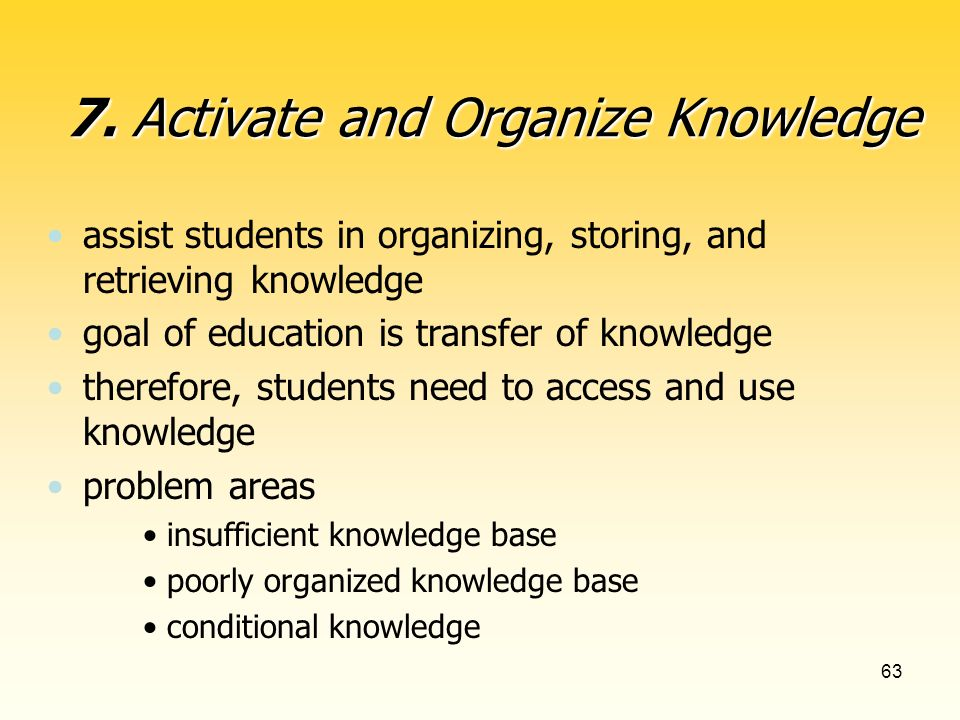 63 assist students in organizing, storing, and retrieving knowledge goal of education is transfer of knowledge therefore, students need to access and use knowledge problem areas insufficient knowledge base poorly organized knowledge base conditional knowledge 7.