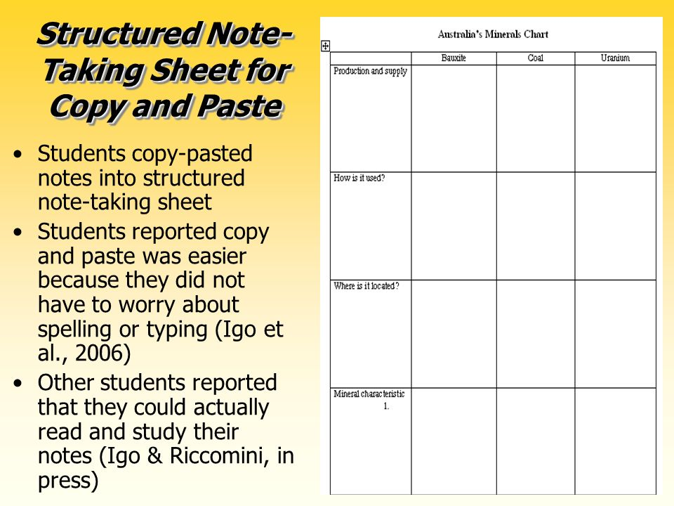 70 Structured Note- Taking Sheet for Copy and Paste Students copy-pasted notes into structured note-taking sheet Students reported copy and paste was easier because they did not have to worry about spelling or typing (Igo et al., 2006) Other students reported that they could actually read and study their notes (Igo & Riccomini, in press)