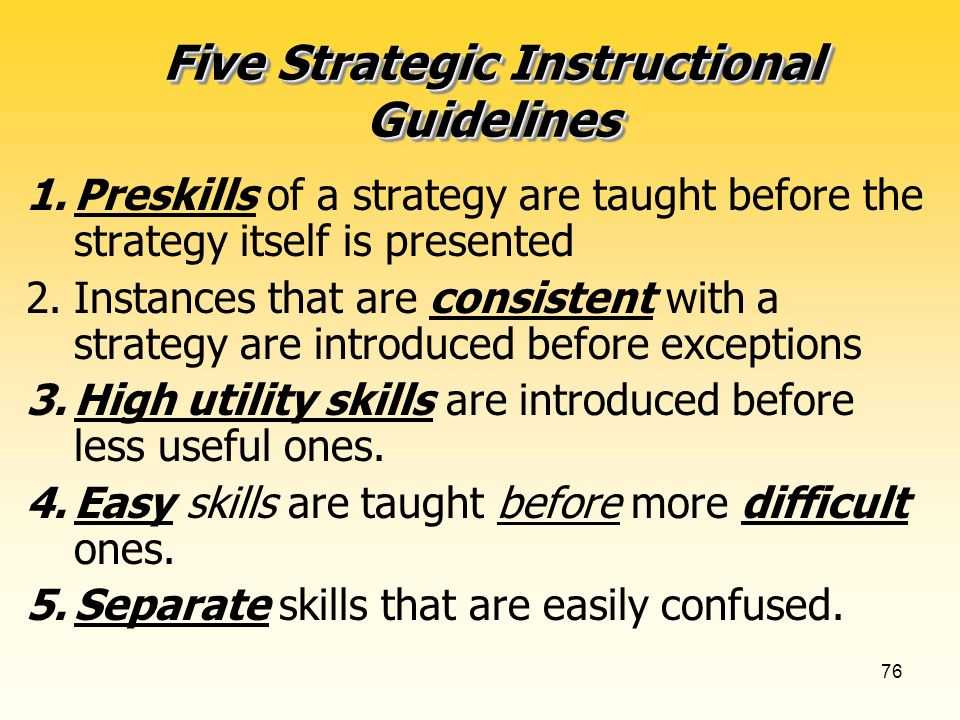 76 Five Strategic Instructional Guidelines 1.Preskills of a strategy are taught before the strategy itself is presented 2.Instances that are consistent with a strategy are introduced before exceptions 3.High utility skills are introduced before less useful ones.