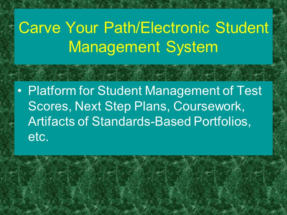 Carve Your Path/Electronic Student Management System Platform for Student Management of Test Scores, Next Step Plans, Coursework, Artifacts of Standards-Based Portfolios, etc.