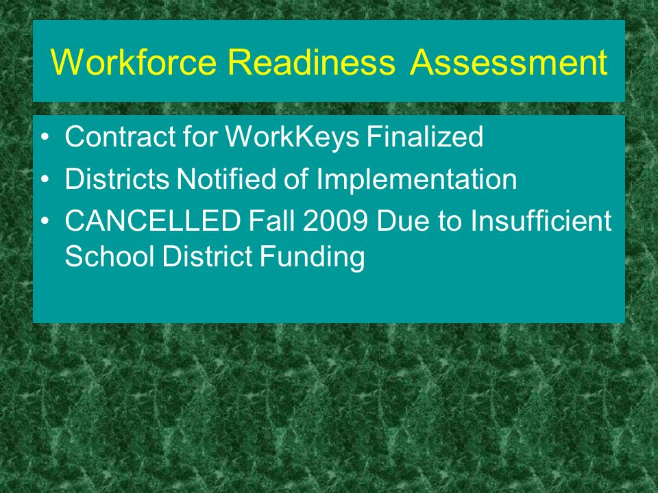 Workforce Readiness Assessment Contract for WorkKeys Finalized Districts Notified of Implementation CANCELLED Fall 2009 Due to Insufficient School District Funding