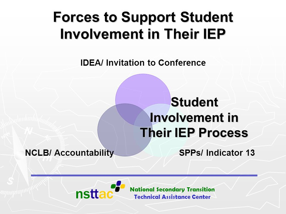 National Secondary Transition Technical Assistance Center Forces to Support Student Involvement in Their IEP IDEA/ Invitation to Conference SPPs/ Indi