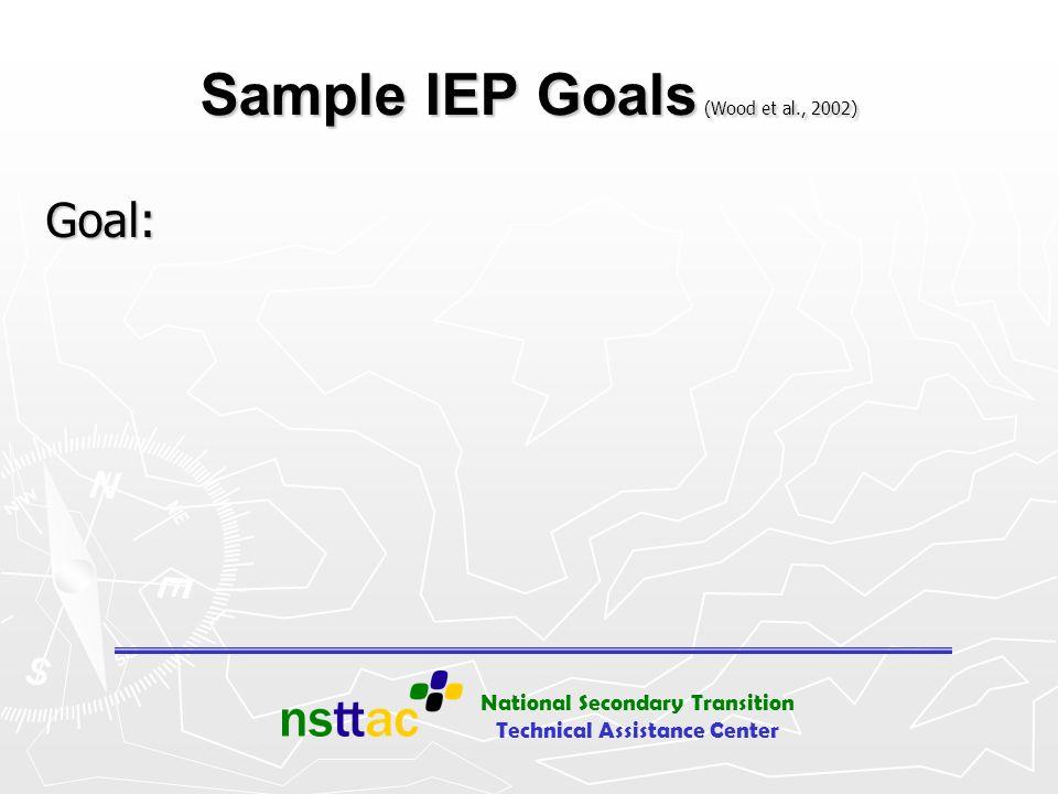 National Secondary Transition Technical Assistance Center Sample IEP Goals (Wood et al., 2002) Goal: