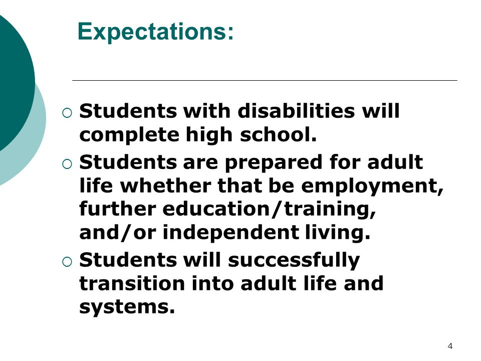 4 Expectations: Students with disabilities will complete high school.
