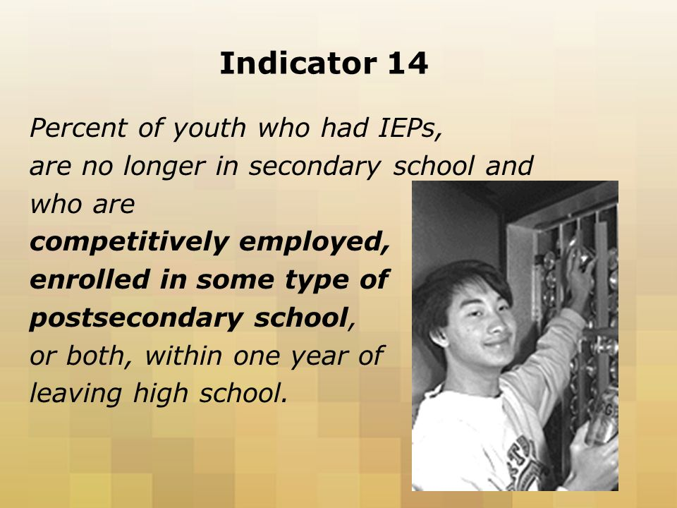 Indicator 14 Percent of youth who had IEPs, are no longer in secondary school and who are competitively employed, enrolled in some type of postsecondary school, or both, within one year of leaving high school.
