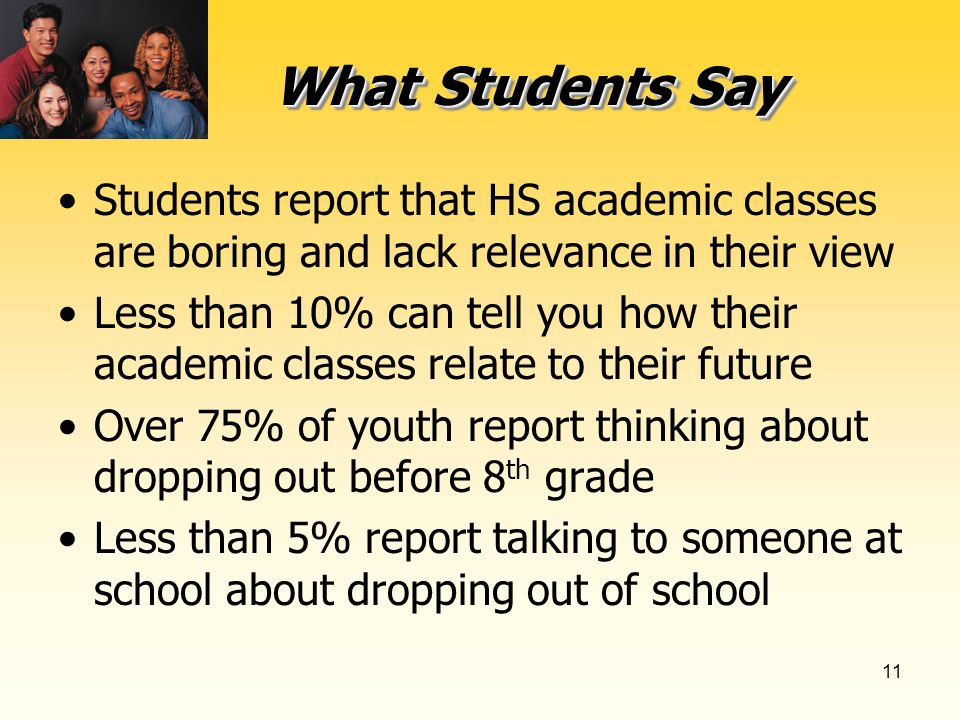 11 What Students Say Students report that HS academic classes are boring and lack relevance in their view Less than 10% can tell you how their academic classes relate to their future Over 75% of youth report thinking about dropping out before 8 th grade Less than 5% report talking to someone at school about dropping out of school
