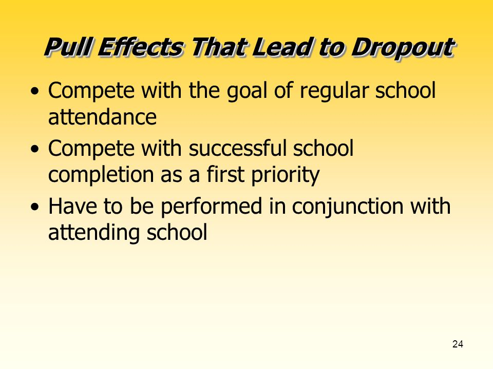 24 Pull Effects That Lead to Dropout Compete with the goal of regular school attendance Compete with successful school completion as a first priority Have to be performed in conjunction with attending school