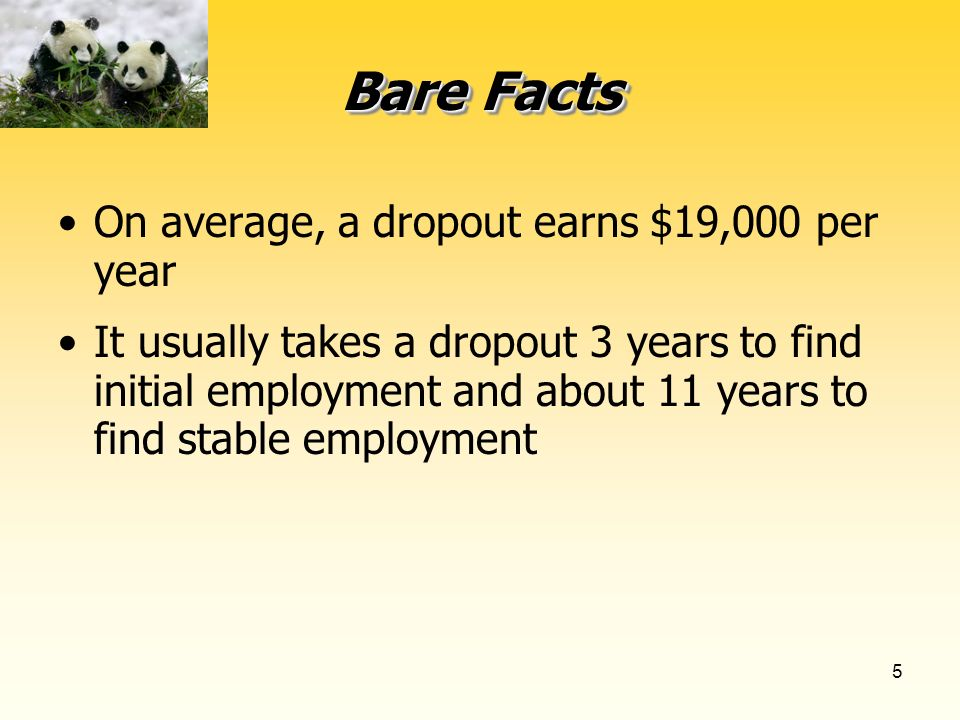 5 Bare Facts On average, a dropout earns $19,000 per year It usually takes a dropout 3 years to find initial employment and about 11 years to find stable employment