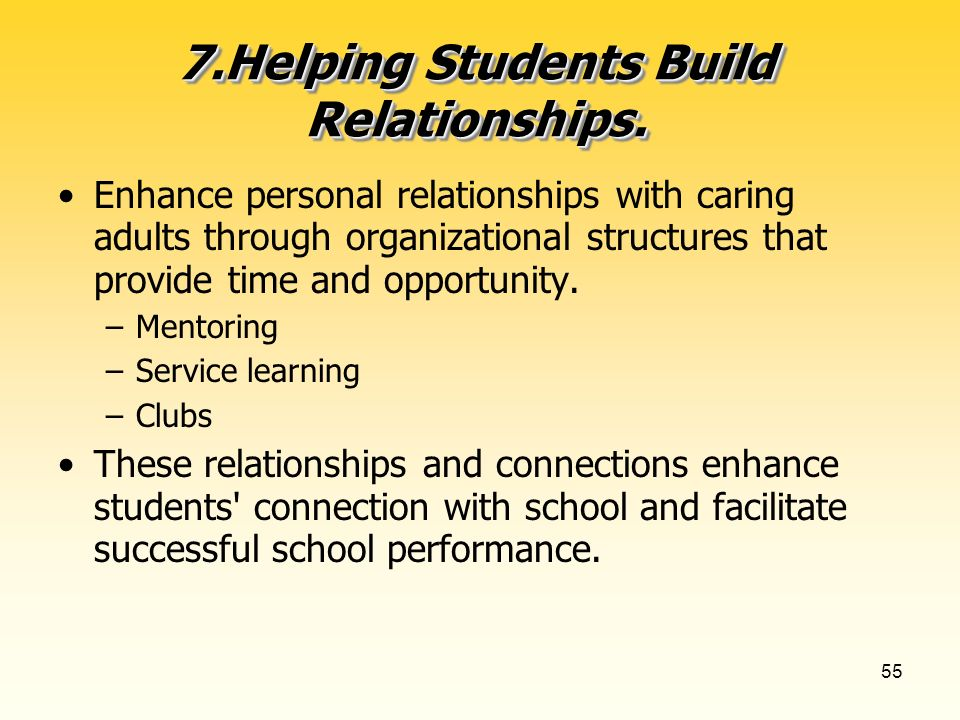 55 7.Helping Students Build Relationships.
