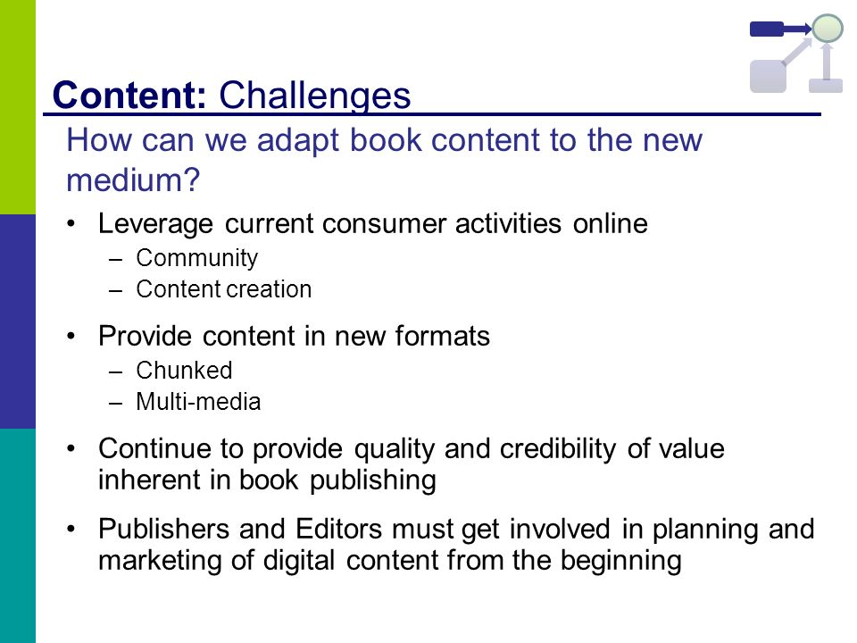 Content: Challenges Leverage current consumer activities online –Community –Content creation Provide content in new formats –Chunked –Multi-media Cont