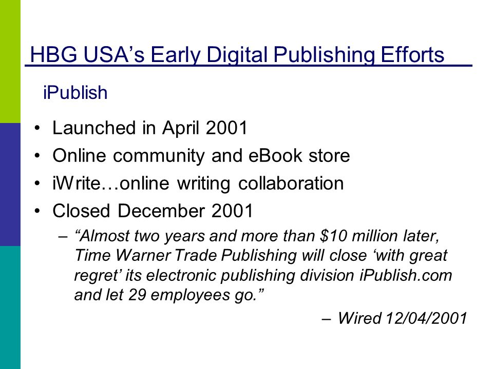 HBG USAs Early Digital Publishing Efforts Launched in April 2001 Online community and eBook store iWrite…online writing collaboration Closed December