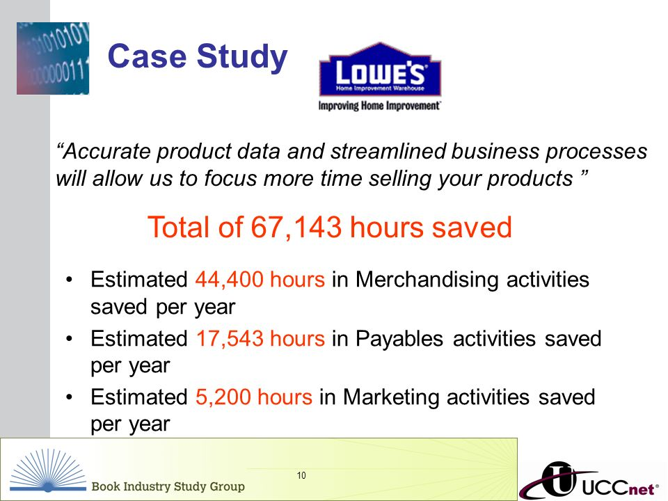 INSERT GRAPHIC SQUARE HERE 10 Estimated 44,400 hours in Merchandising activities saved per year Estimated 17,543 hours in Payables activities saved pe
