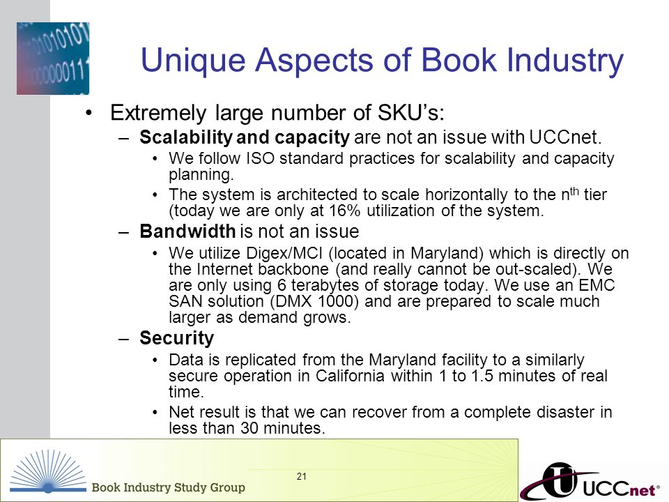 INSERT GRAPHIC SQUARE HERE 21 Unique Aspects of Book Industry Extremely large number of SKUs: –Scalability and capacity are not an issue with UCCnet.