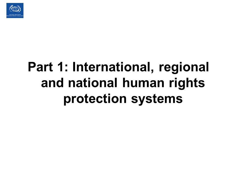 Part 1: International, regional and national human rights protection systems