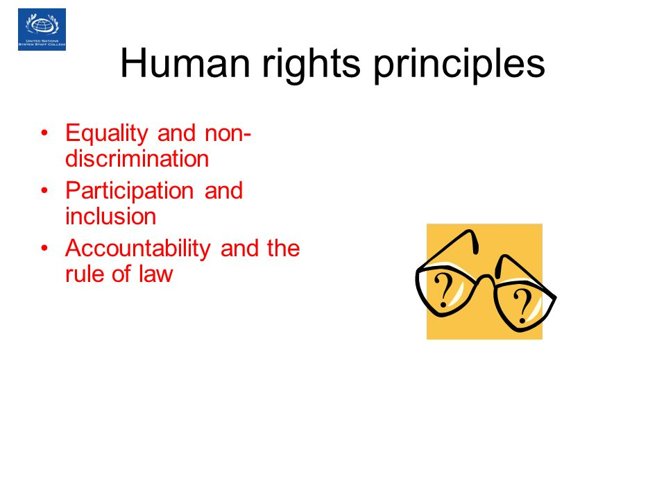 Human rights principles Equality and non- discrimination Participation and inclusion Accountability and the rule of law