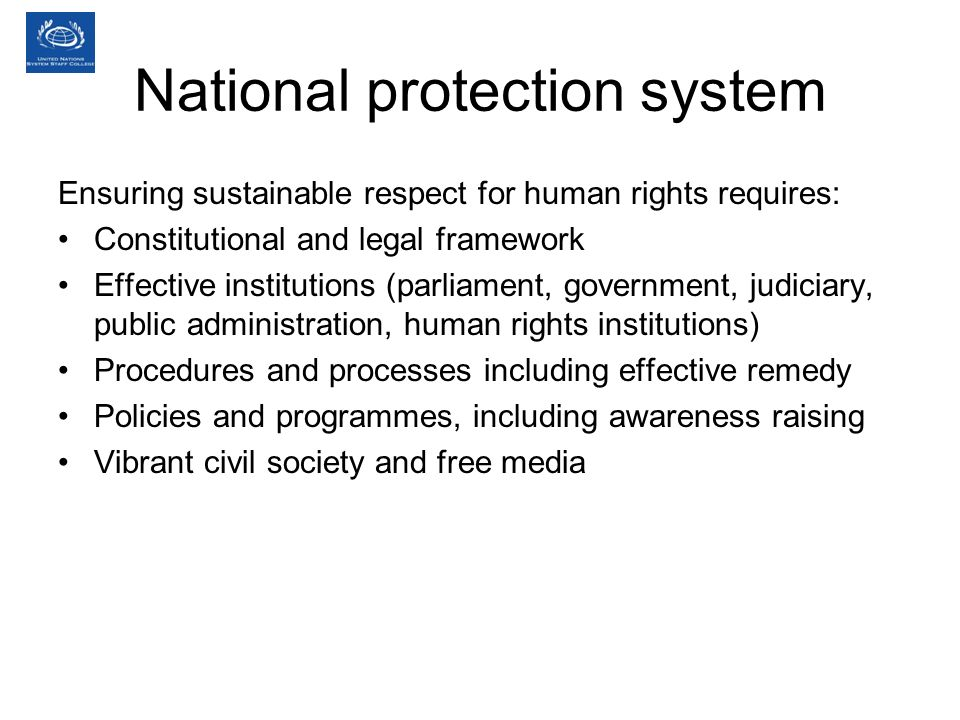 National protection system Ensuring sustainable respect for human rights requires: Constitutional and legal framework Effective institutions (parliament, government, judiciary, public administration, human rights institutions) Procedures and processes including effective remedy Policies and programmes, including awareness raising Vibrant civil society and free media
