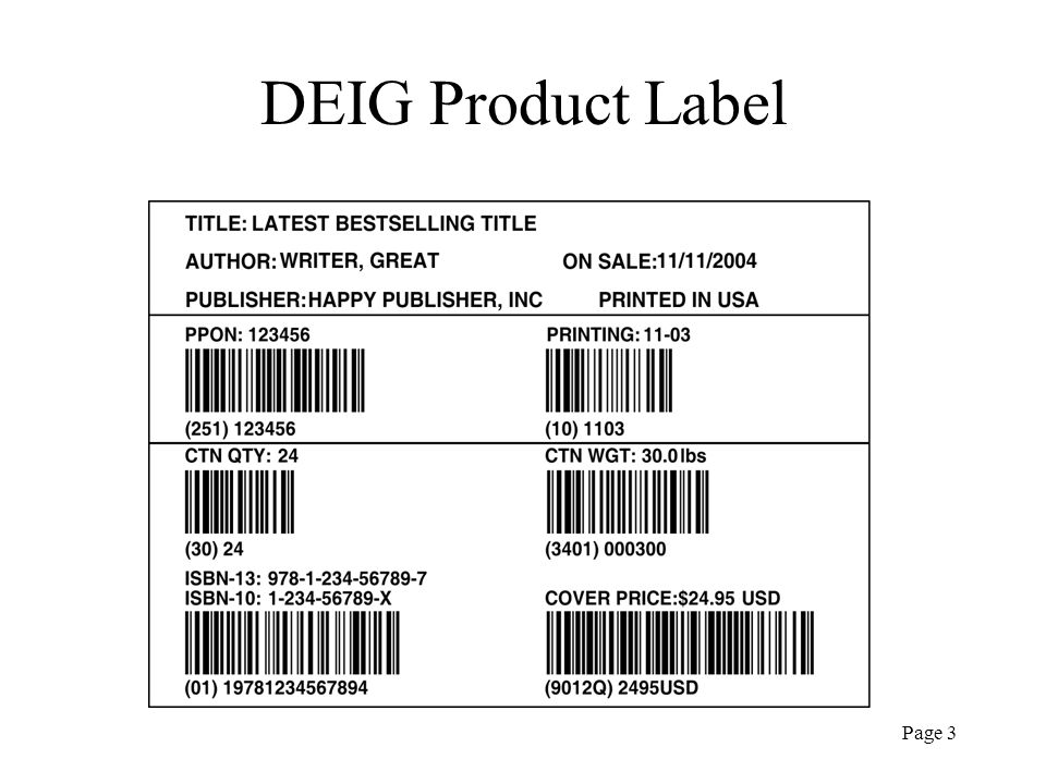Page 3 DEIG Product Label