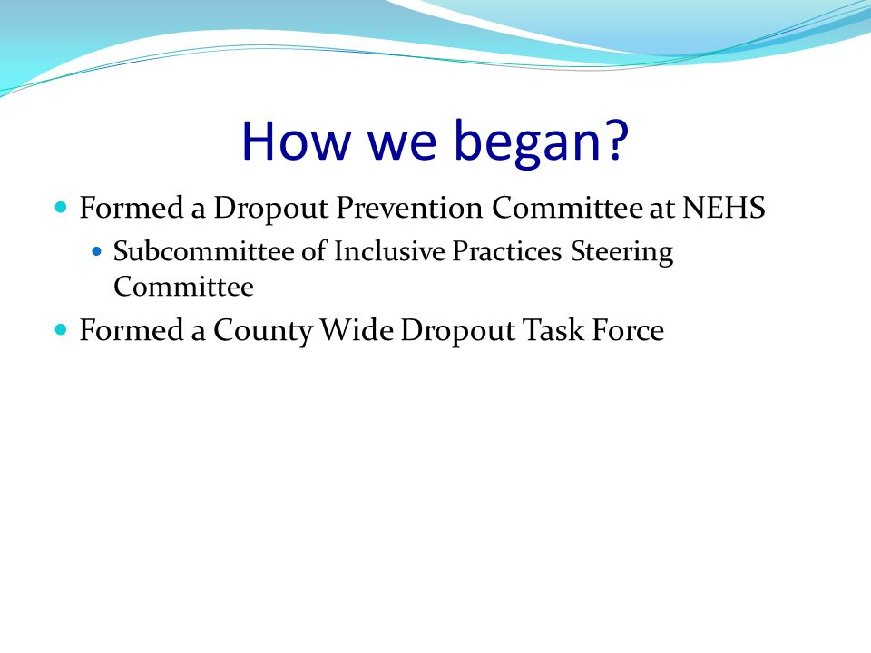 How we began? Formed a Dropout Prevention Committee at NEHS Subcommittee of Inclusive Practices Steering Committee Formed a County Wide Dropout Task F