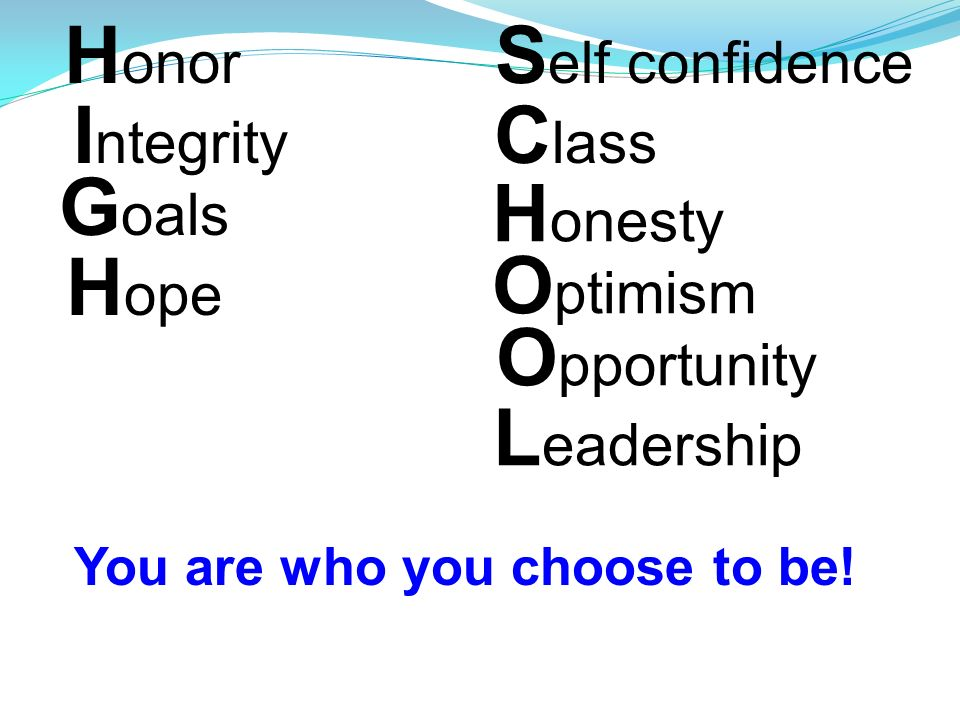 H onor I ntegrity G oals H ope You Are Who You Choose To Be S elf confidence C lass H onesty O ptimism O pportunity L eadership You are who you choose