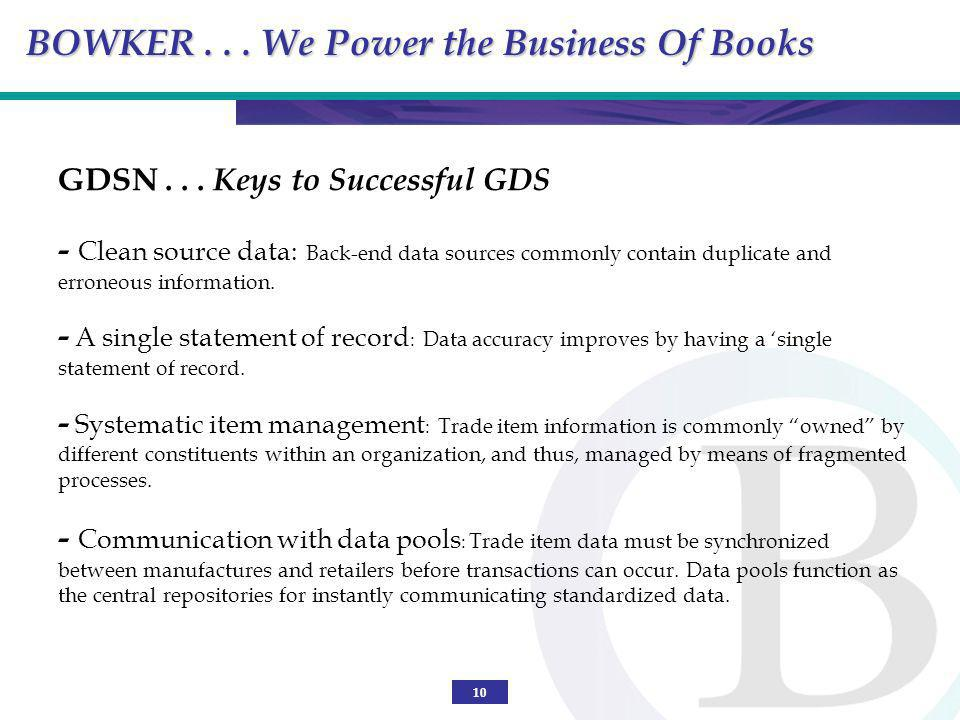 10 GDSN... Keys to Successful GDS - Clean source data: Back-end data sources commonly contain duplicate and erroneous information. - A single statemen